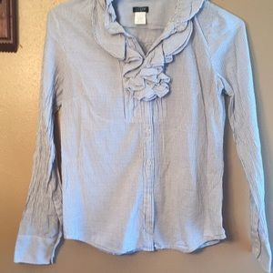 J.Crew Christen striped ruffle tuxedo button shirt